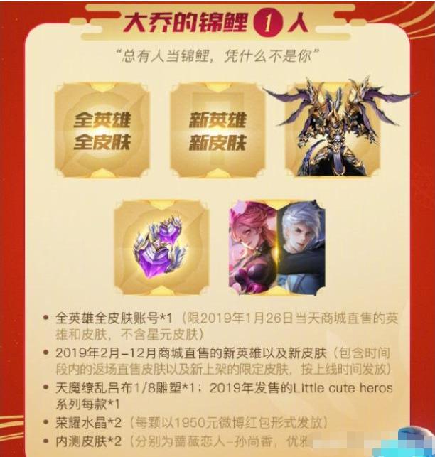 2019王者荣耀新春福利 很多英雄和皮肤免费赠送